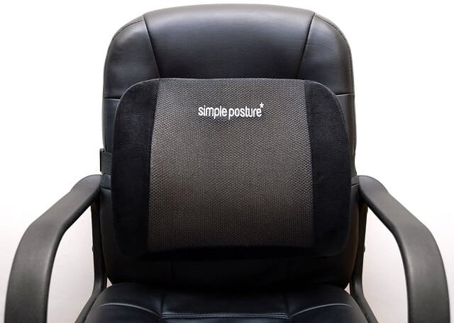BackGuard Pain Cushion Strapped to a Chair