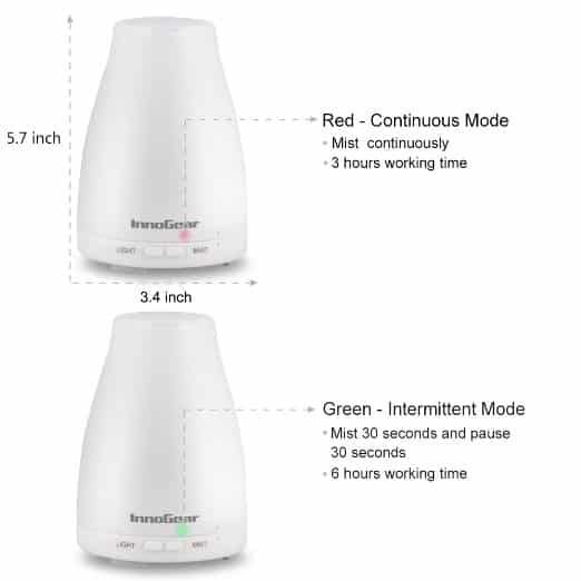 InnoGear Essential Oil Diffuser Red Green Lights