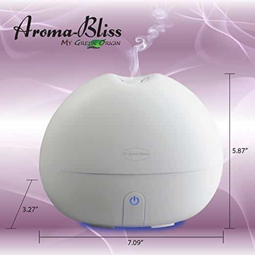 Aroma Bliss Essential Oil Diffuser Instructions and Dimensions