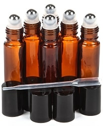 Amber Glass Roll-on Bottles with Roller Balls