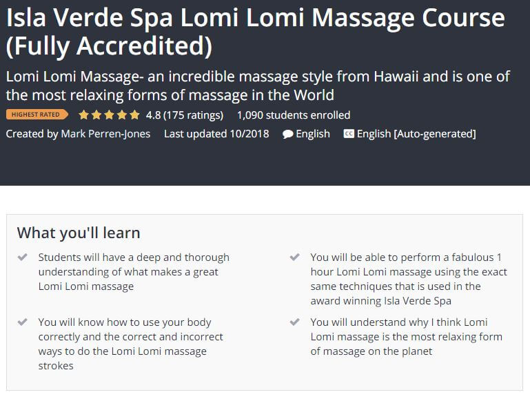 Isla Verde Spa Lomi Lomi Massage Course